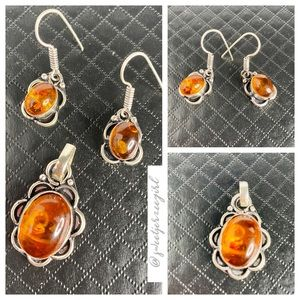Baltic Amber Oval Pendant & Earring Set